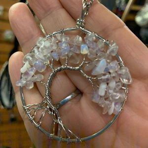 Moon stone tree of life necklace